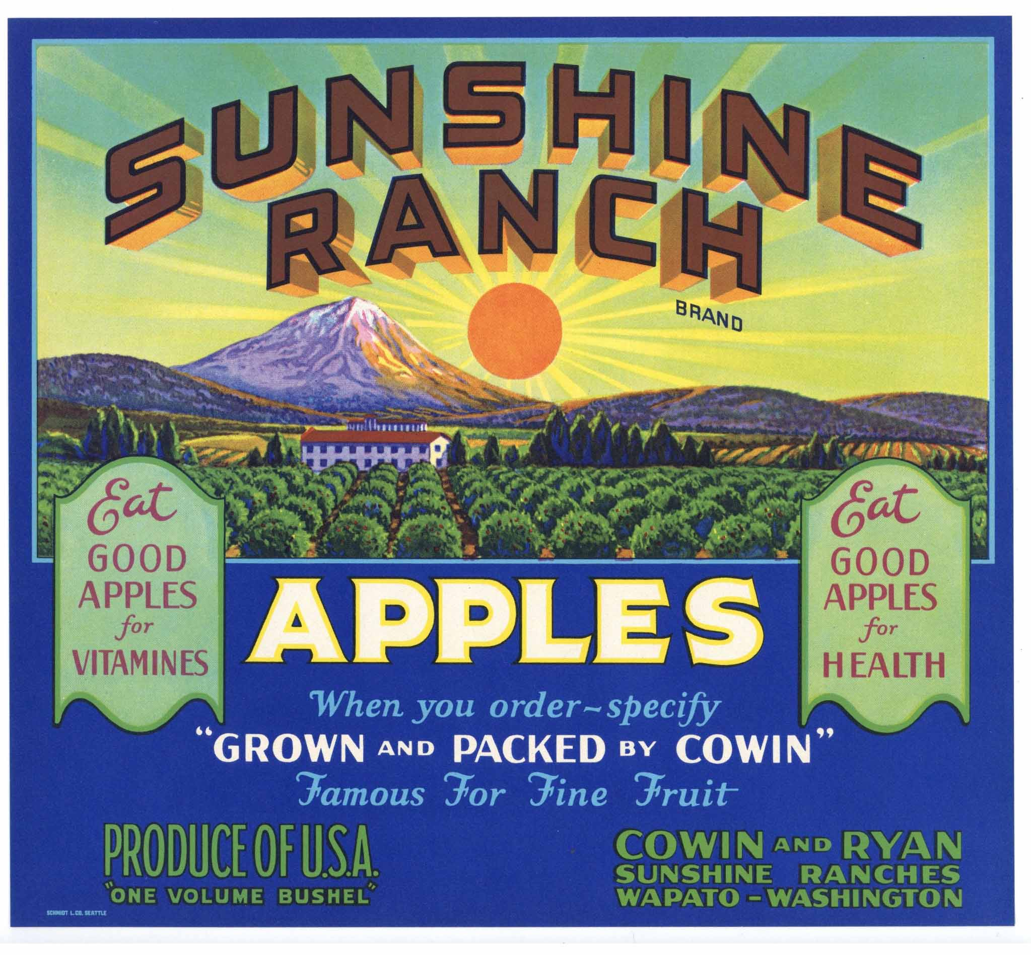 Sunshine Ranch Brand Vintage Wapato Washington Apple Crate Label