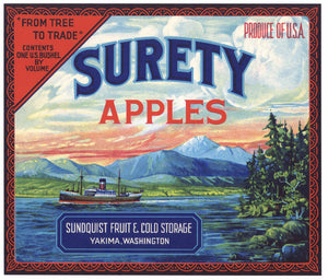 Surety Brand Vintage Yakima Washington Apple Crate Label