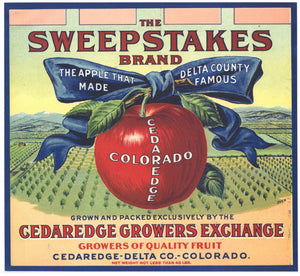 Sweepstakes Brand Vintage Colorado Apple Crate Label, blue