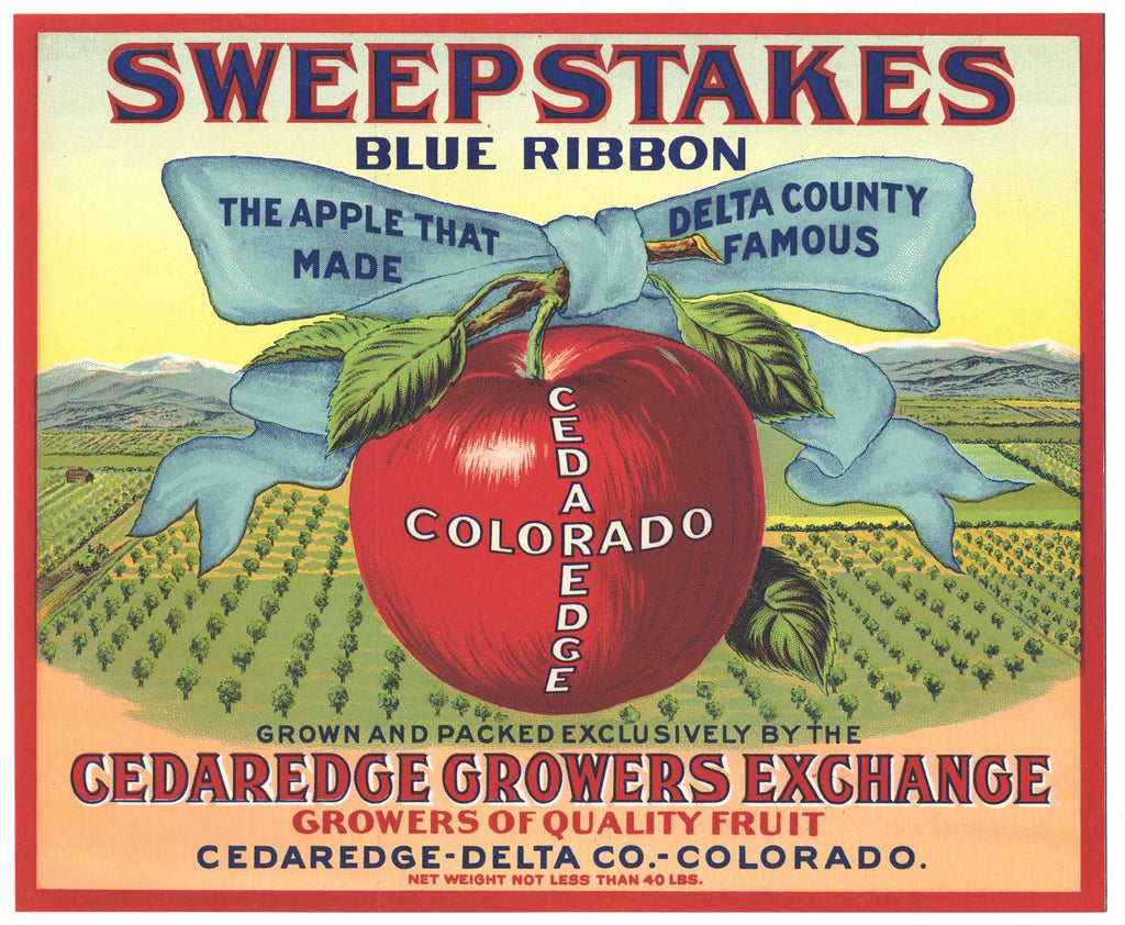 Sweepstakes Brand Vintage Colorado Apple Crate Label, red