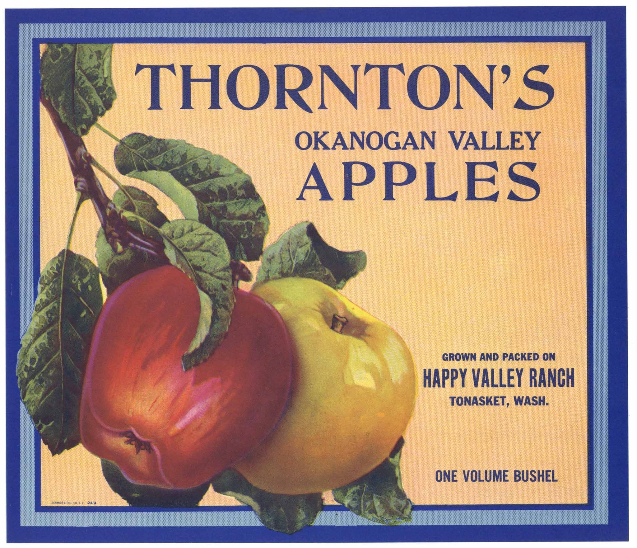 Thornton's Brand Vintage Tonasket Washington Apple Crate Label