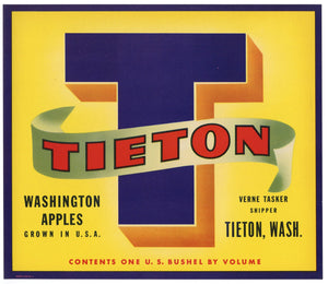 Tieton T Brand Vintage Washington Apple Crate Label