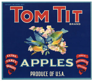 Tom Tit Brand Vintage Apple Crate Label