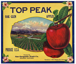 Top Peak Brand Vintage Redlands Apple Crate Label, s