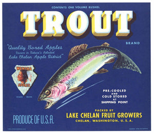 Trout Brand Vintage Chelan Washington Apple Crate Label, blue