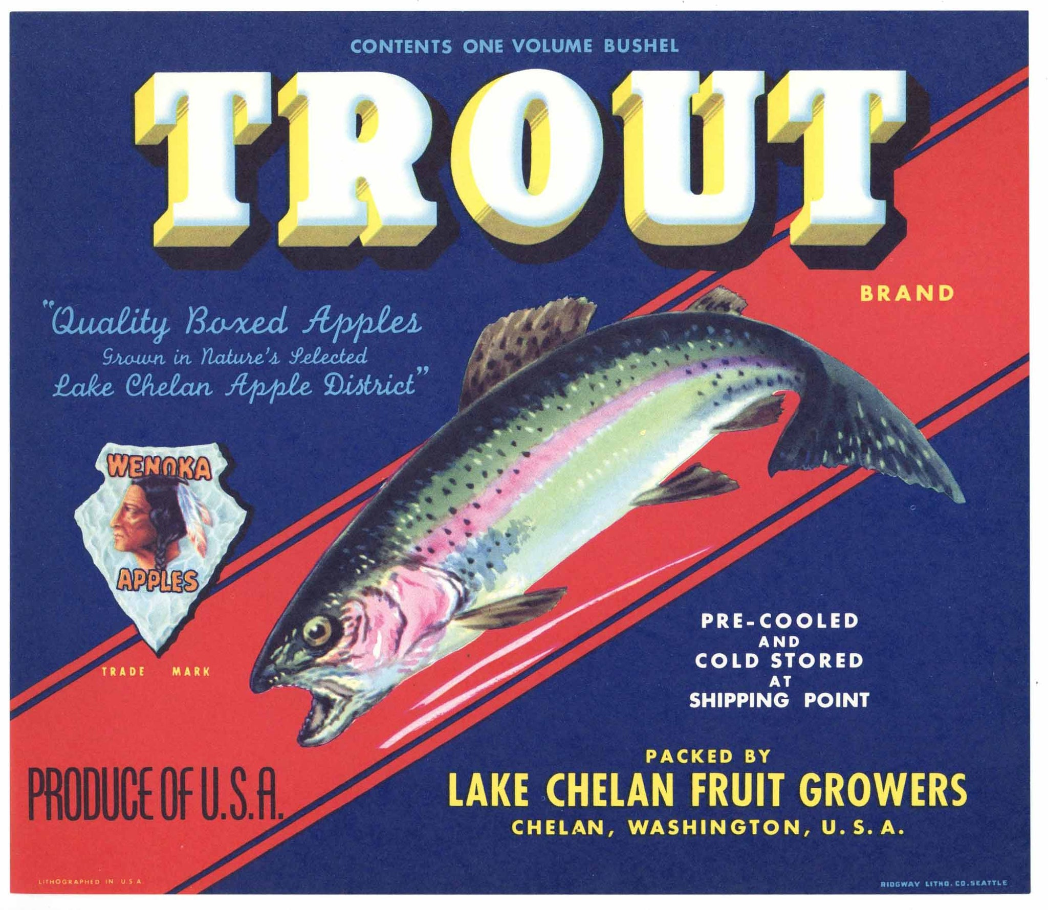 Trout Brand Vintage Chelan Washington Apple Crate Label, red stripe