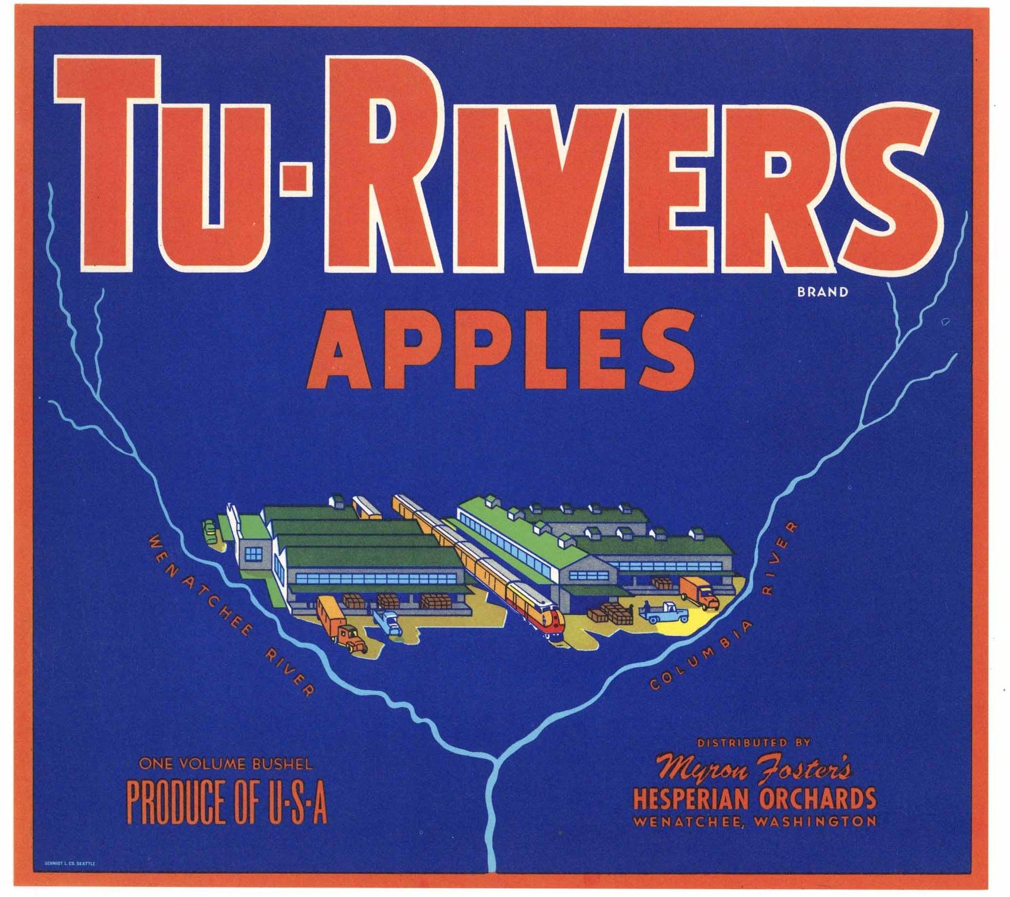 Tu-Rivers Brand Wenatchee Washington Apple Crate Label