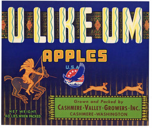 U Like Um Brand Vintage Cashmere Washington Apple Crate Label