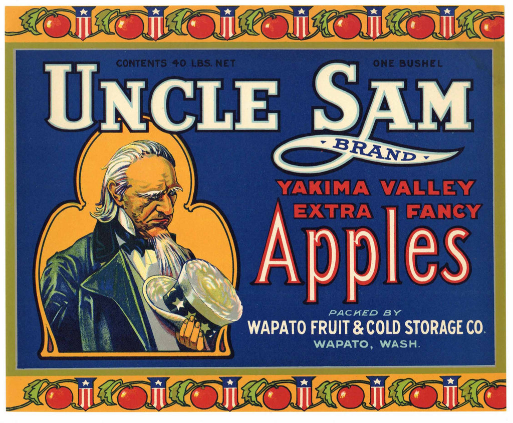 Uncle Sam Brand Wapato Washington Apple Crate Label, blue