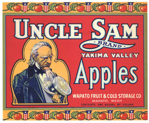 Uncle Sam Brand Wapato Washington Apple Crate Label, red