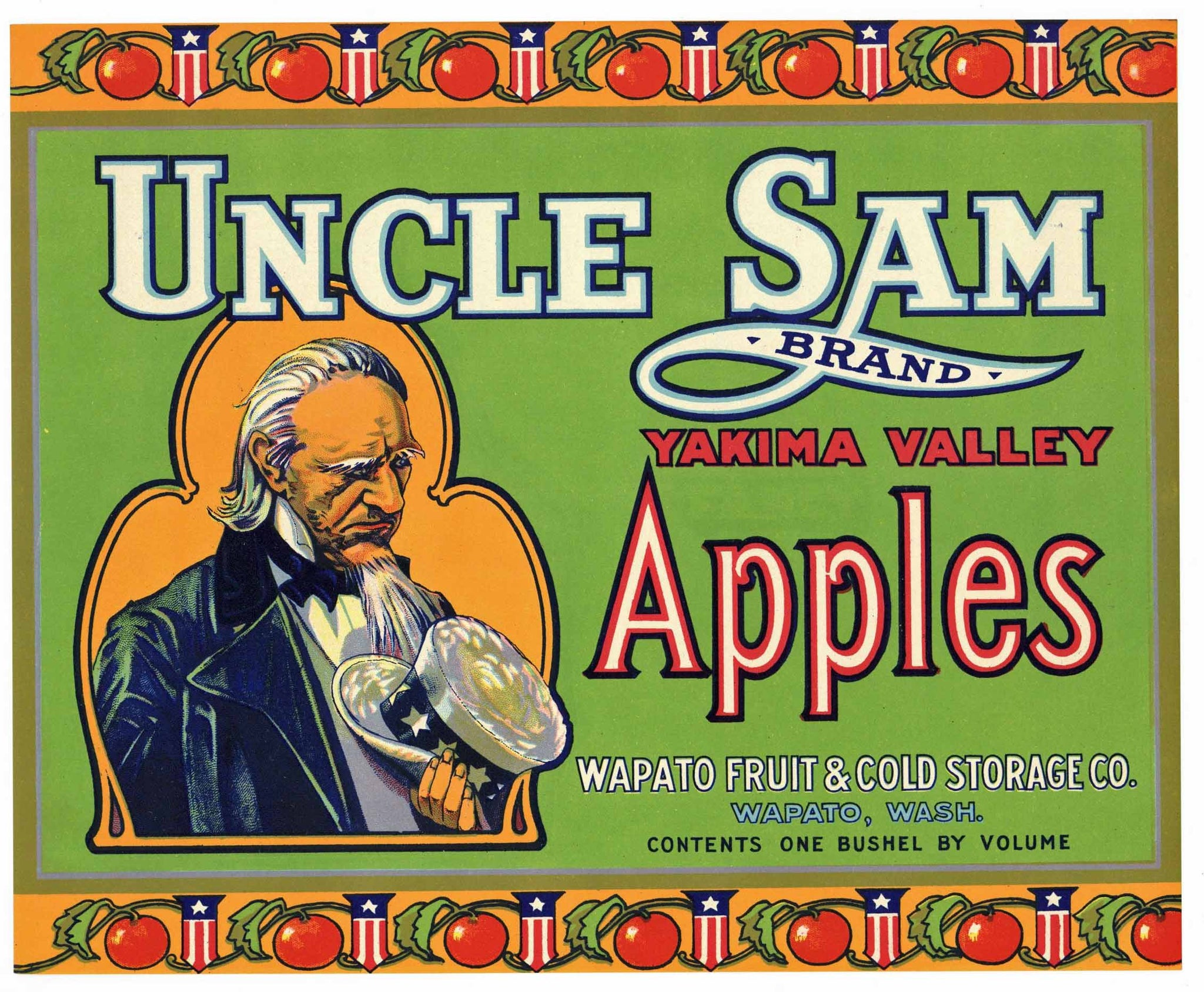 Uncle Sam Brand Wapato Washington Apple Crate Label, green