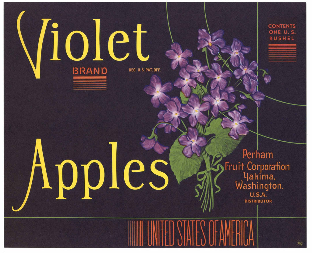 Violet Brand Vintage Washington Apple Crate Label, n