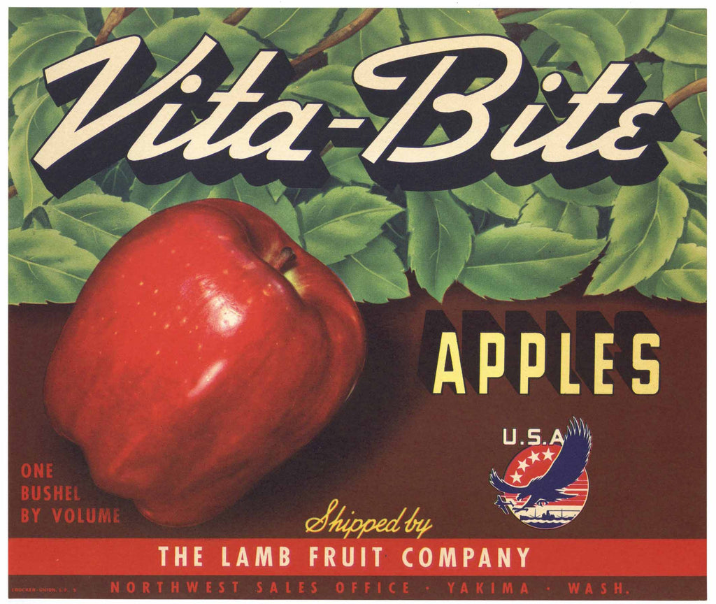 Vita-Bite Brand Vintage Hood River Oregon Apple Crate Label