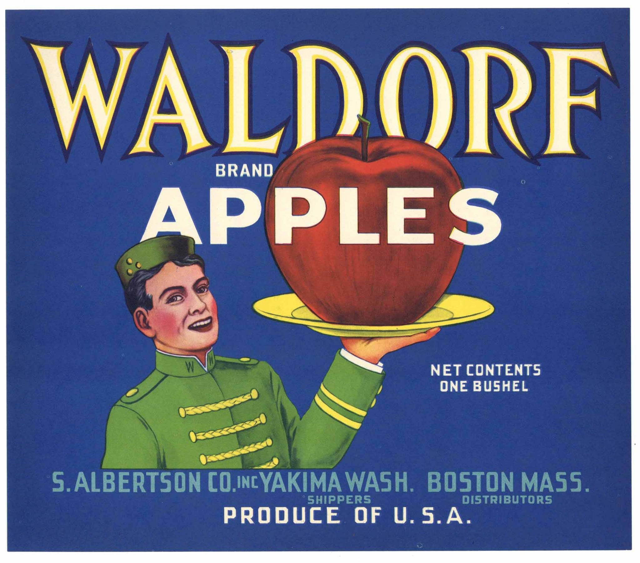 Waldorf Brand Vintage Yakima Washington Apple Crate Label