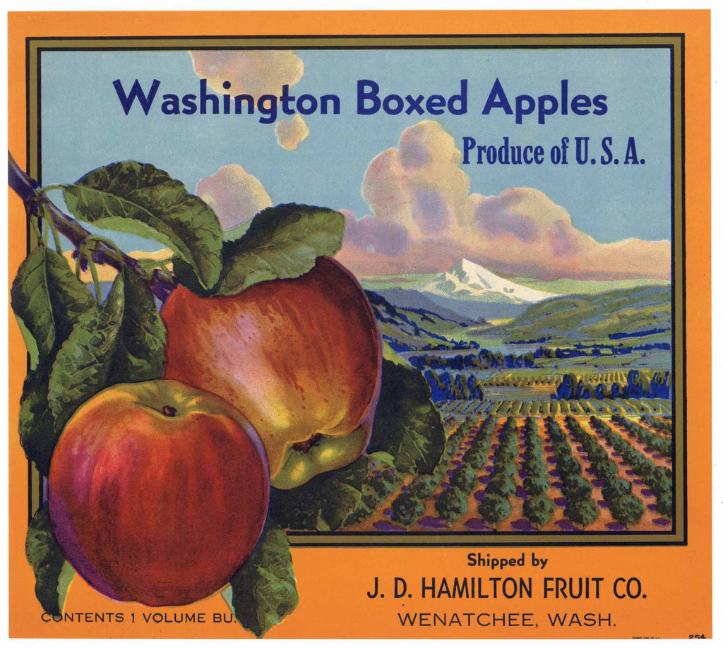 Washington Boxed Apples Brand Vintage Wenatchee Apple Crate Label
