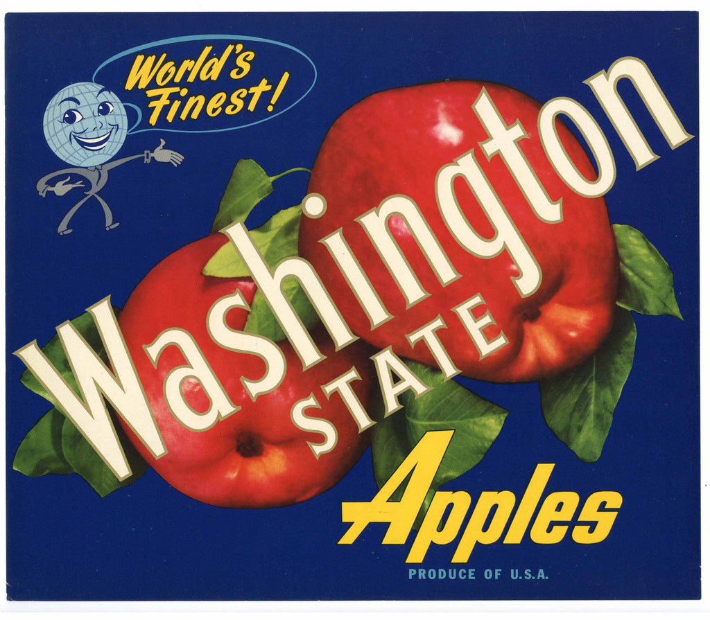 Washington State Brand Vintage Apple Crate Label