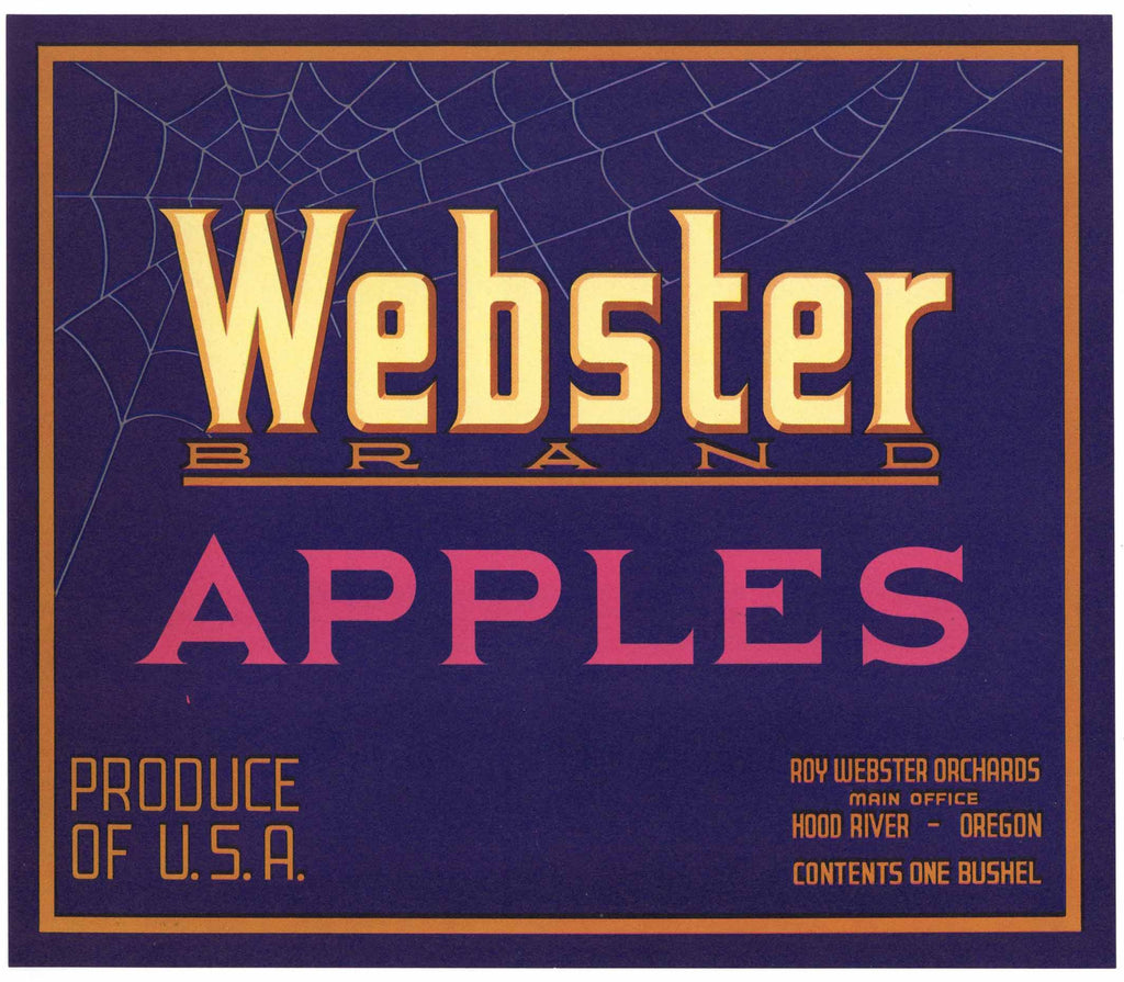 Webster Brand Vintage Hood River Oregon Apple Crate Label, p