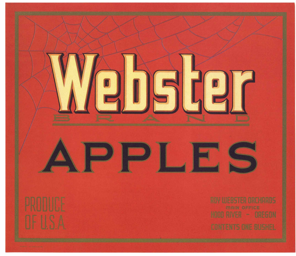 Webster Brand Vintage Hood River Oregon Apple Crate Label, r