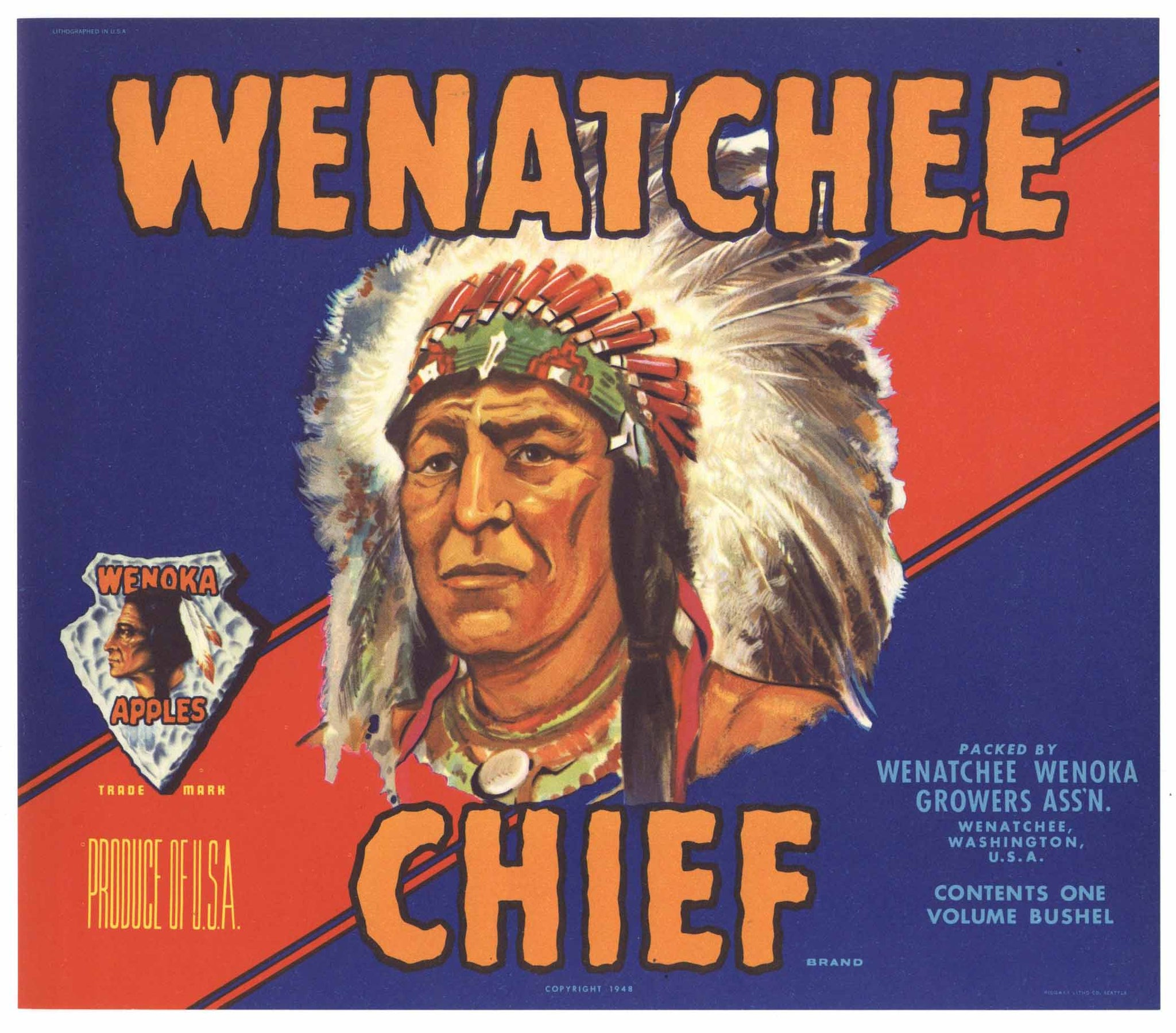 Wenatchee Chief Brand Vintage Washington Apple Crate Label, r