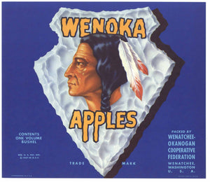 Wenoka Brand Vintage Washington Apple Crate Label, b