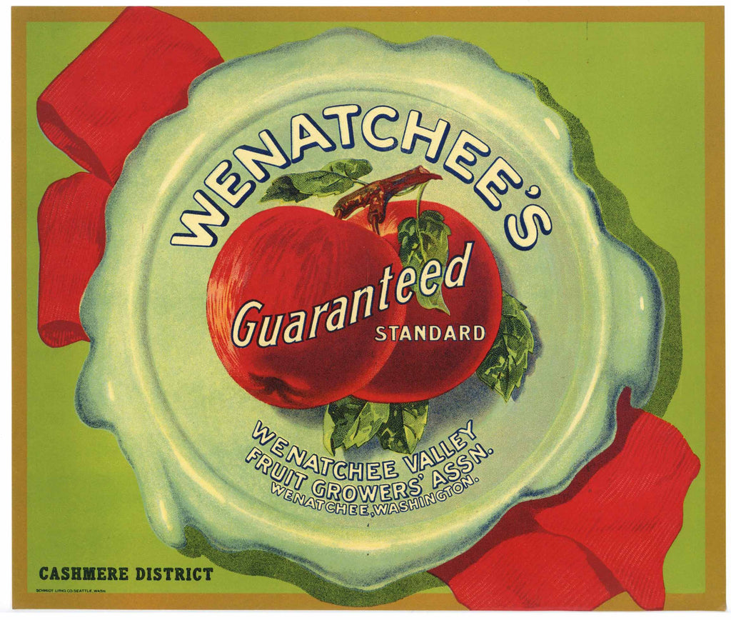 Wenatchee's Guaranteed Brand Vintage Washington Apple Crate Label