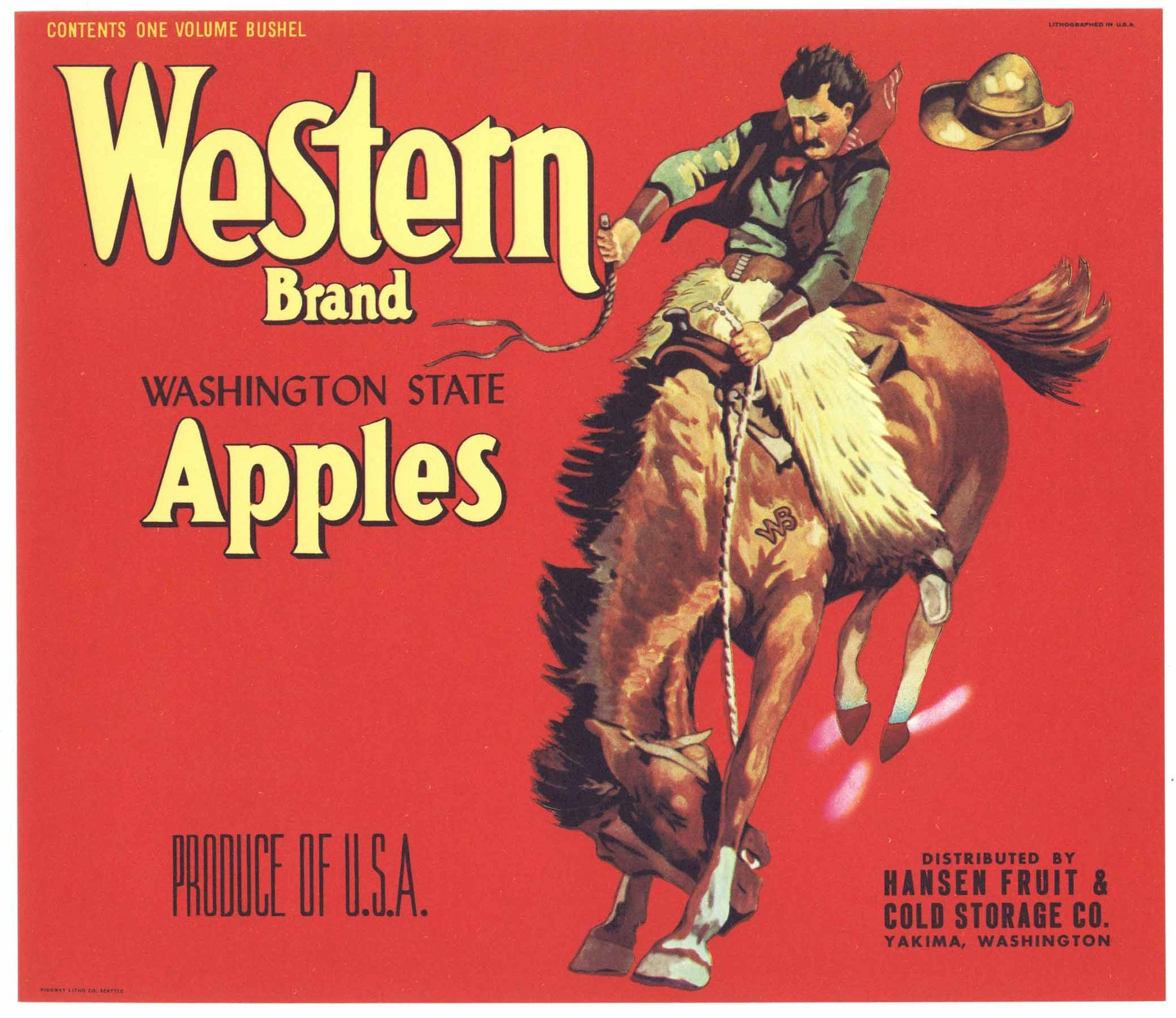 Western Brand Vintage Yakima Washington Apple Crate Label, red