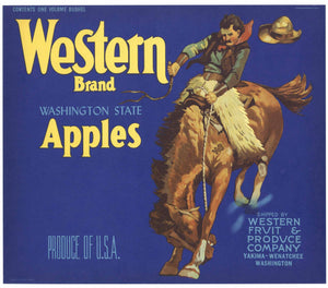Western Brand Vintage Yakima Washington Apple Crate Label, blue