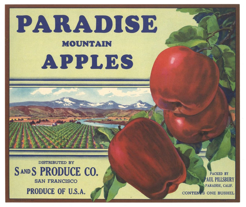 Paradise Brand Vintage California Apple Crate Label
