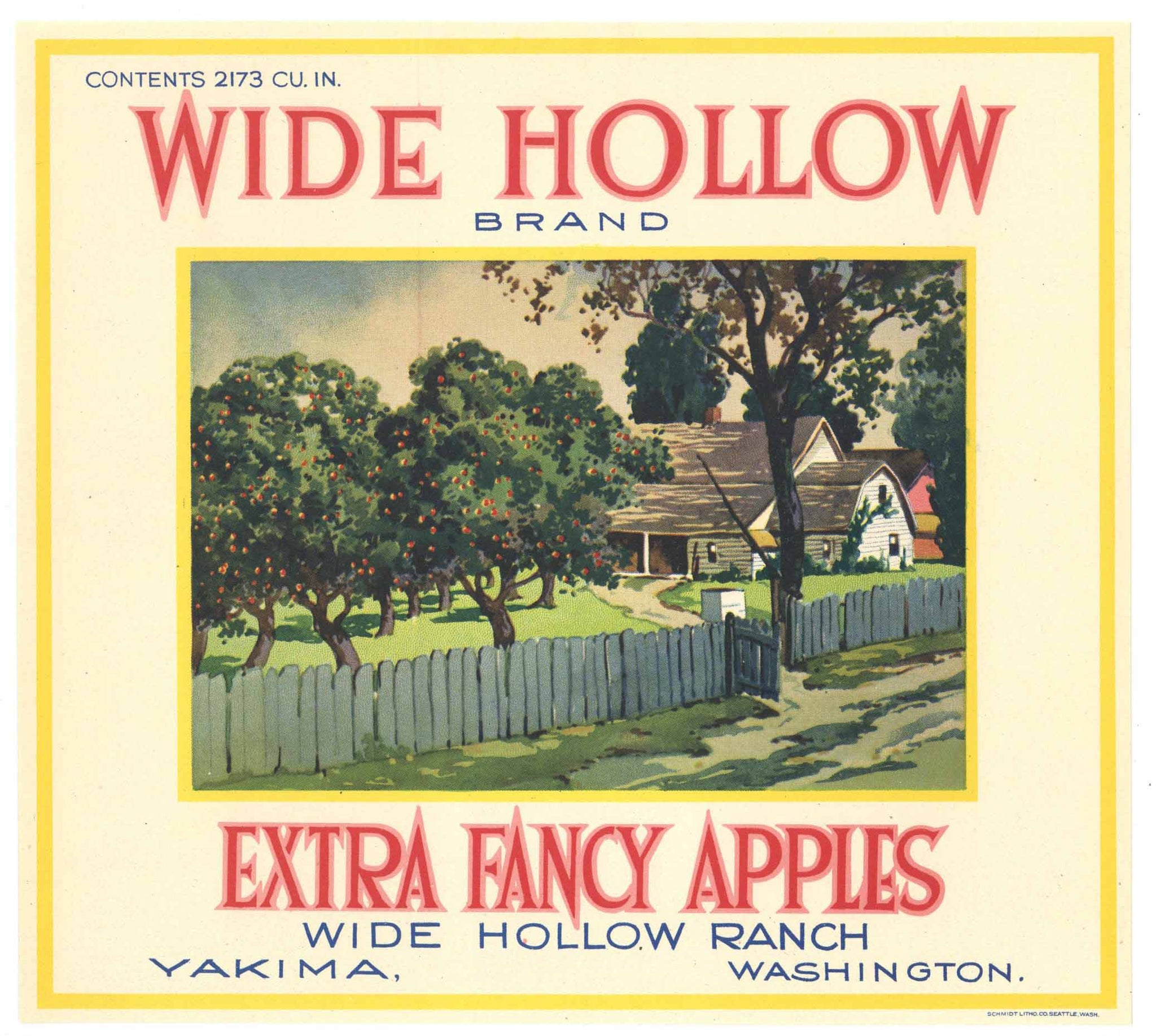 Wide Hollow Brand Vintage Yakima Apple Crate Label