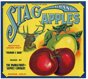 Stag Brand Vintage Colorado Apple Crate Label