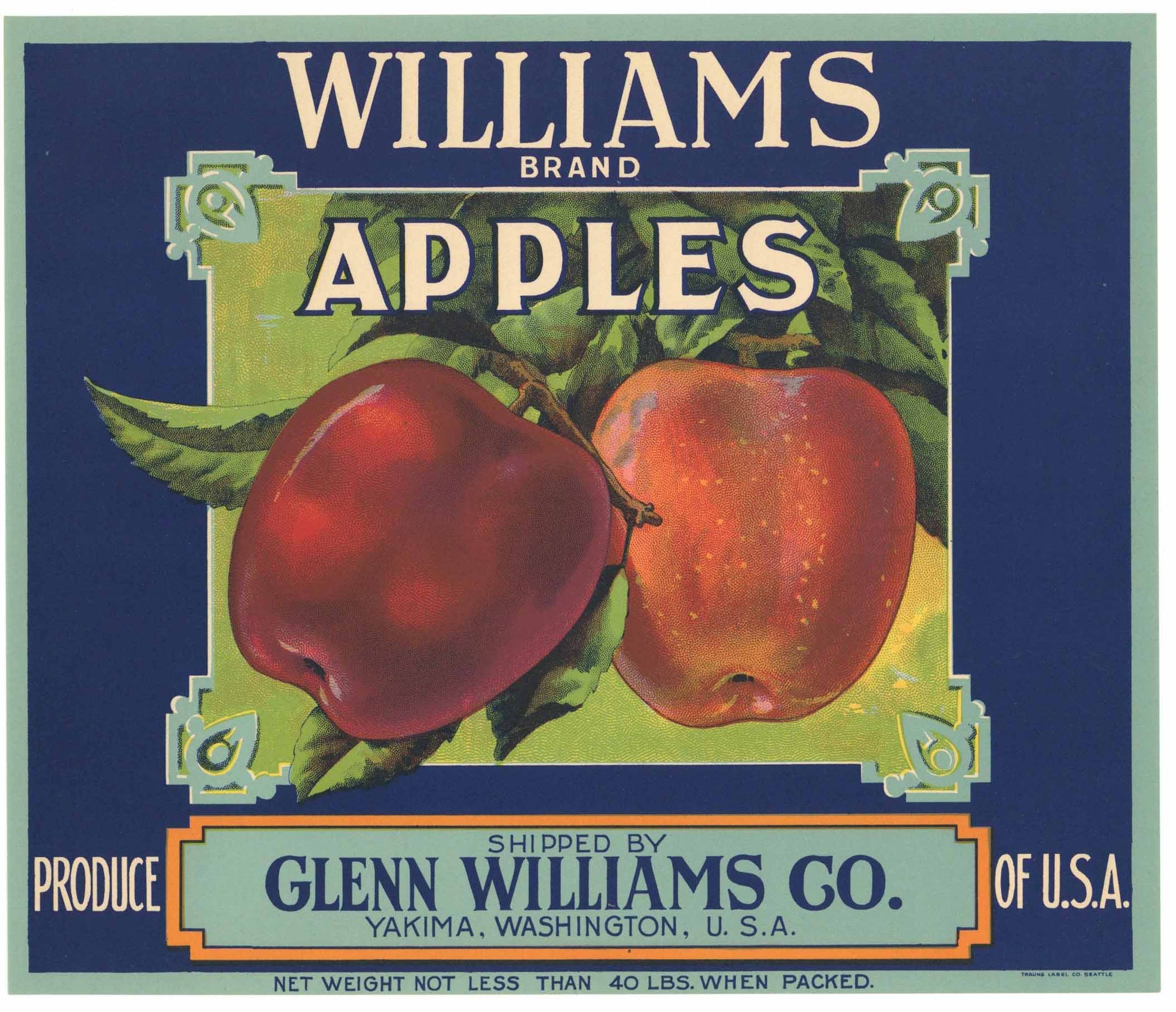 Williams Brand Vintage Yakima Apple Crate Label, blue