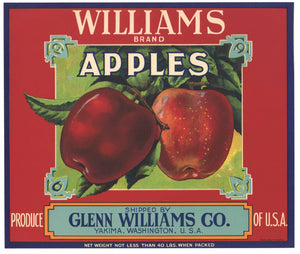 Williams Brand Vintage Yakima Apple Crate Label, red
