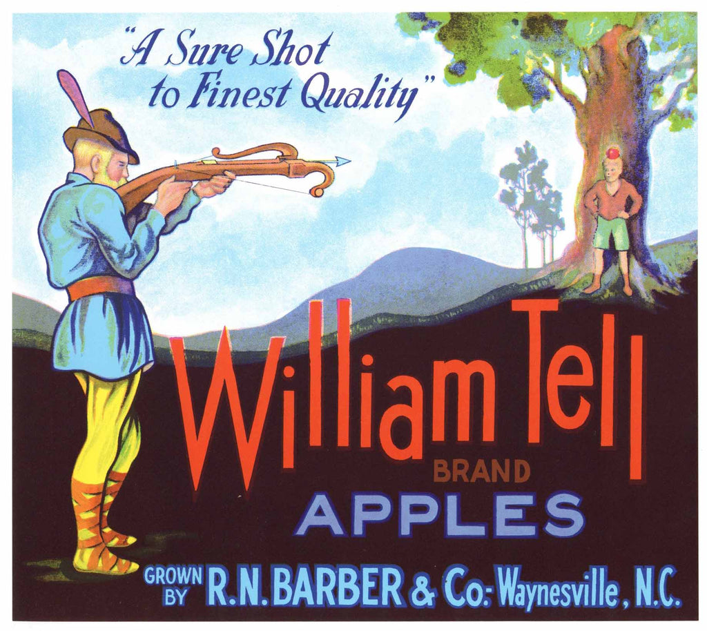 William Tell Brand Vintage North Carolina Apple Crate Label
