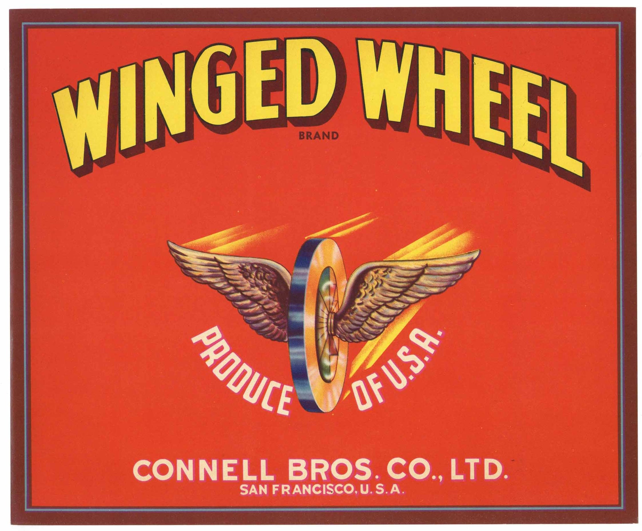 Winged Wheel Brand Vintage Apple Crate Label