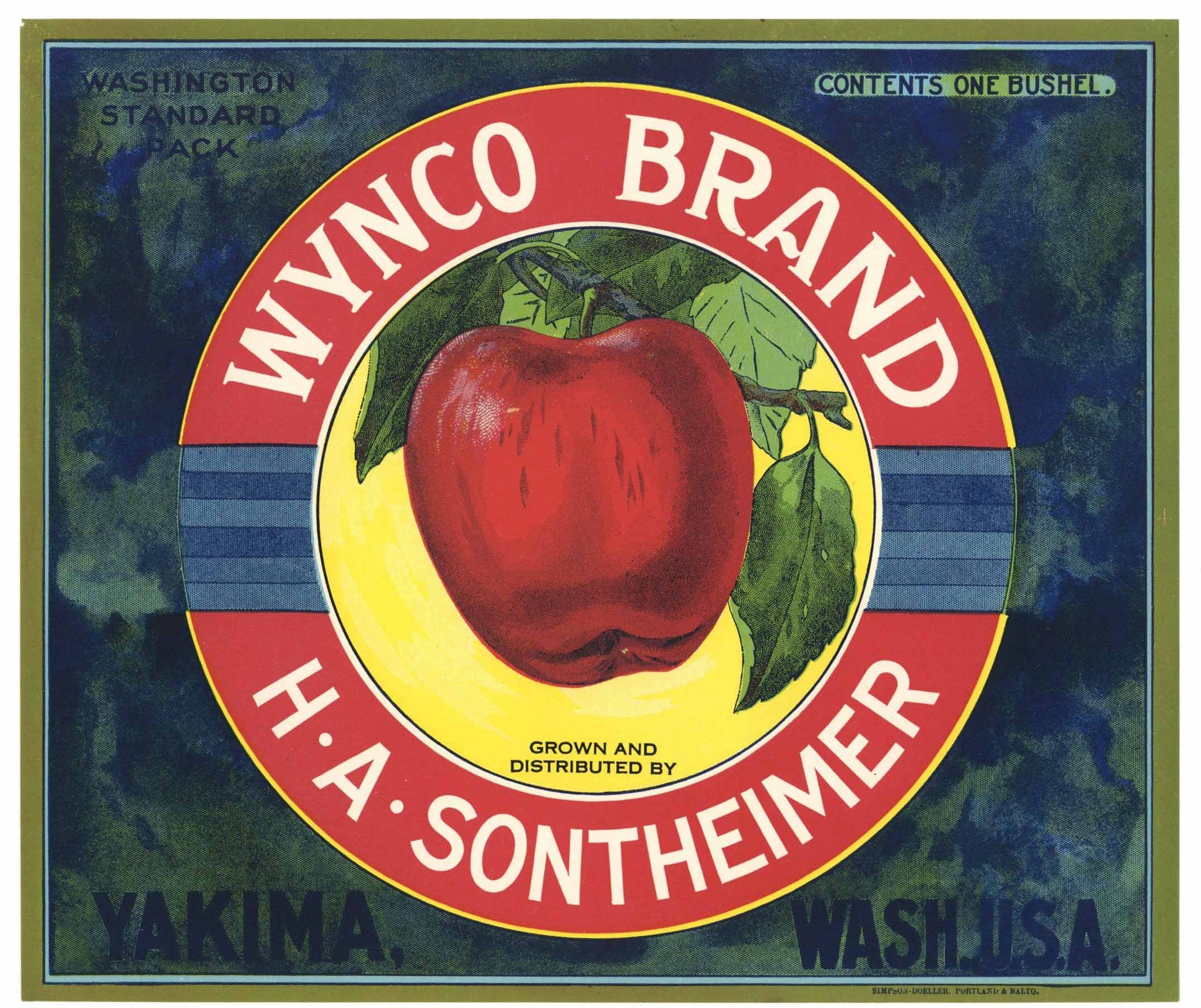 Wynco Brand Vintage Yakima Washington Apple Crate Label