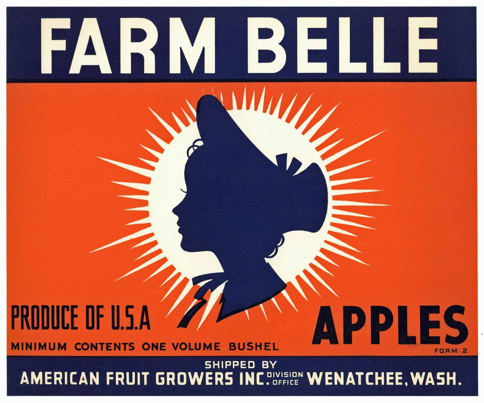 Farm Belle Brand Vintage American Fruit Growers Apple Crate Label