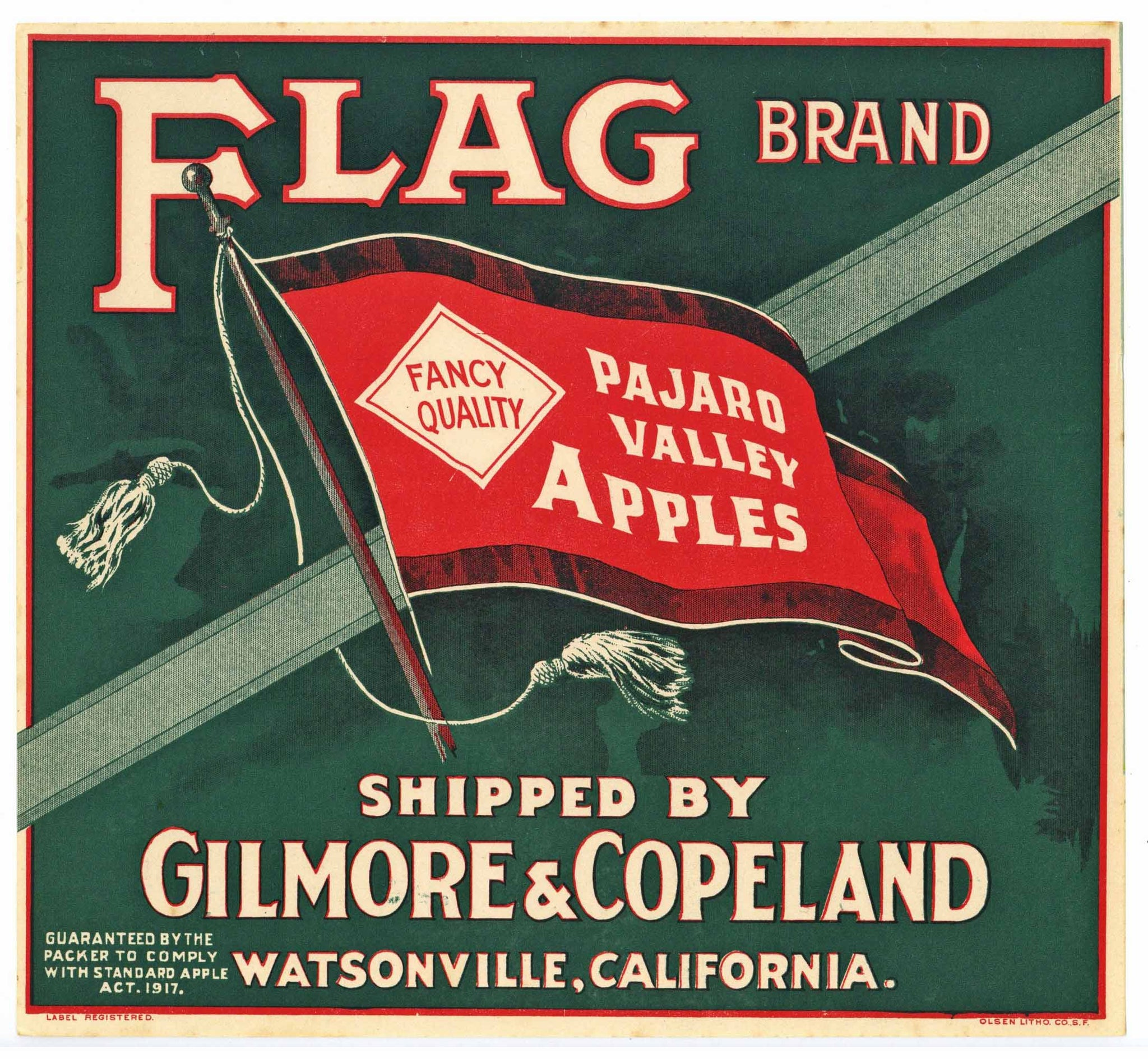Flag Brand Vintage Watsonville Pajaro Valley Apple Crate Label