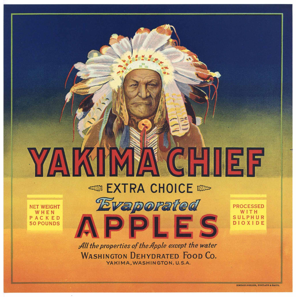 Yakima Chief Brand Vintage Washington Apple Crate Label
