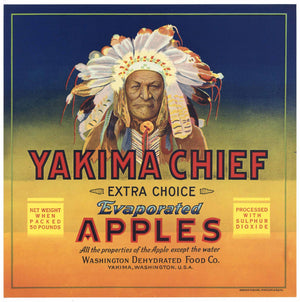 Yakima Chief Brand Vintage Washington Apple Crate Label, larger