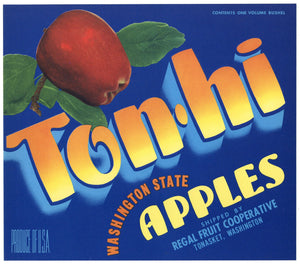 Ton Hi Brand Vintage Tonasket Washington Apple Crate Label