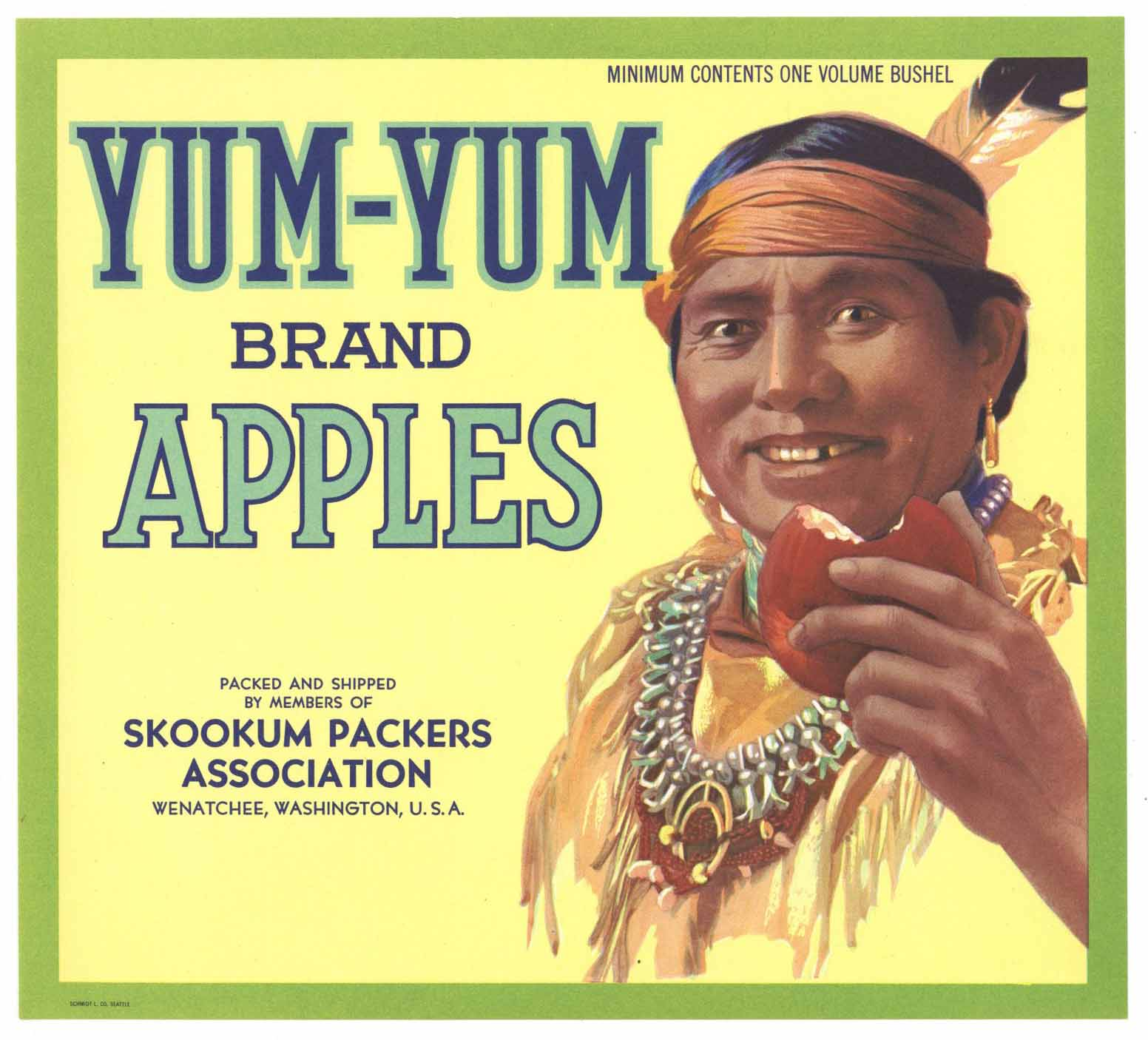 Yum Yum Brand Vintage Wenatchee Apple Crate Label