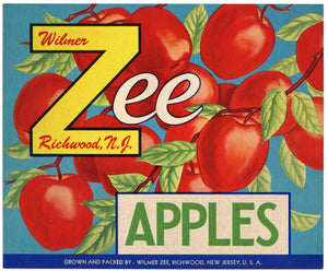 Zee Brand Vintage Richwood, New Jersey Apple Crate Label