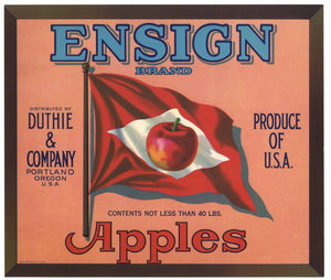 Ensign Brand Vintage Portland Oregon Apple Crate Label, red flag