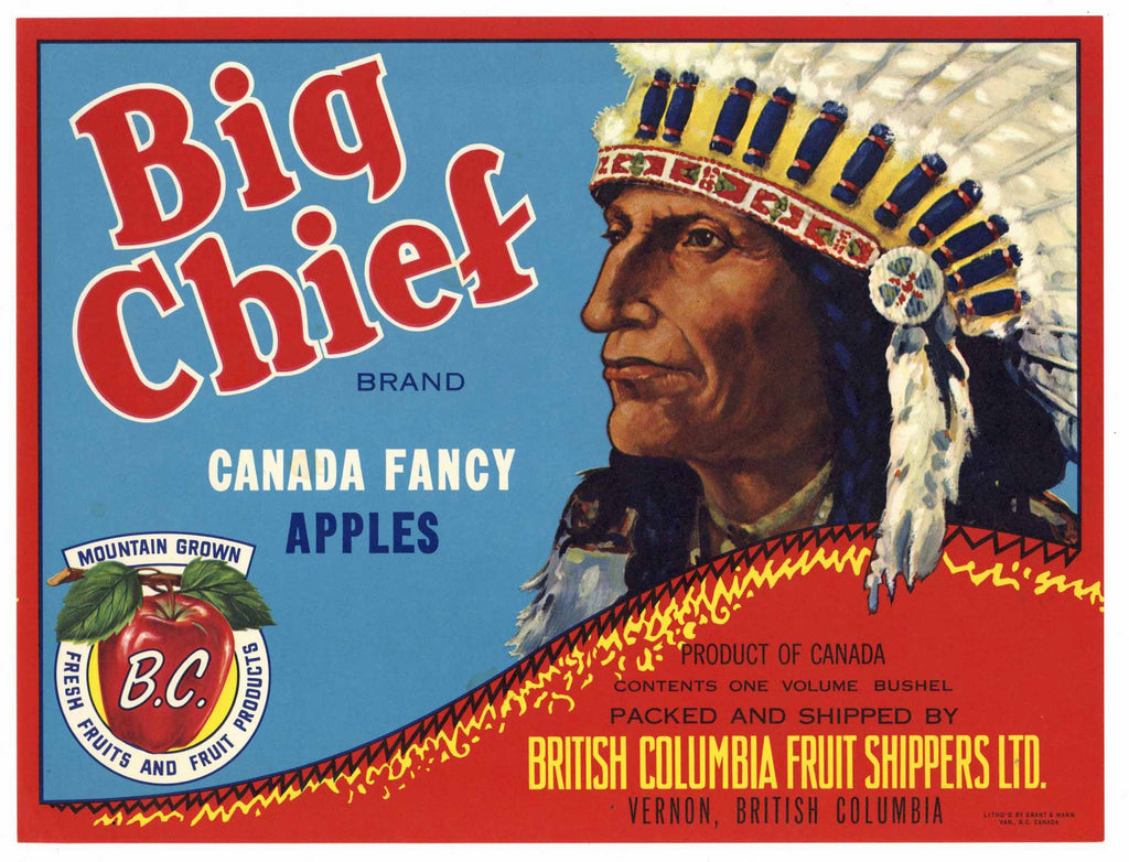Big Chief Brand Vintage British Columbia Canada Apple Crate Label