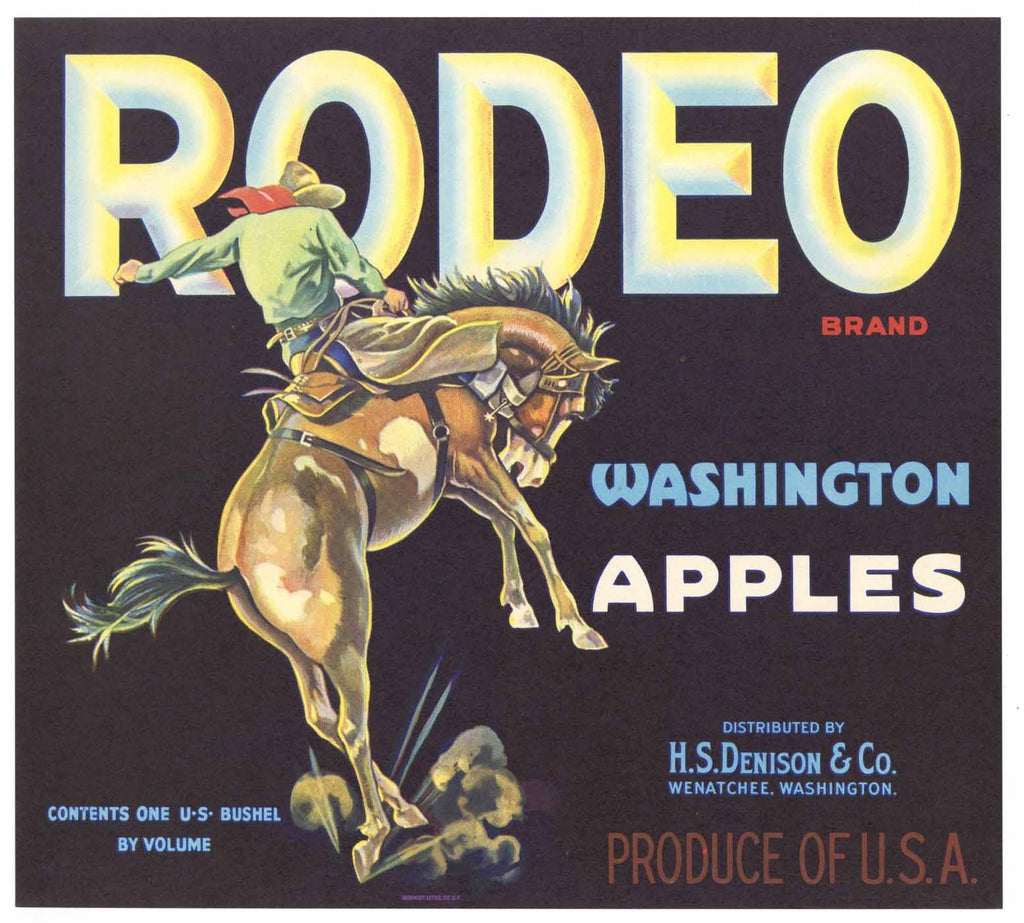 Rodeo Brand Vintage Wenatchee Washington Apple Crate Label
