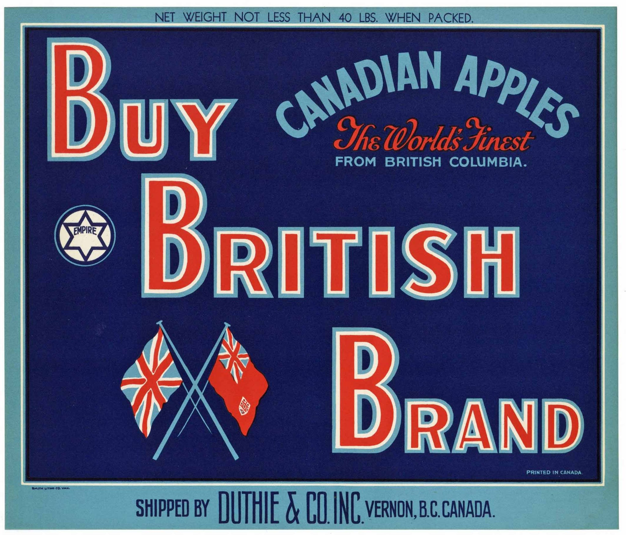 Buy British Brand Vintage Vernon Canada Apple Crate Label