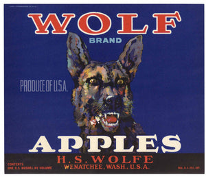 Wolf Brand Vintage Wenatchee Apple Crate Label