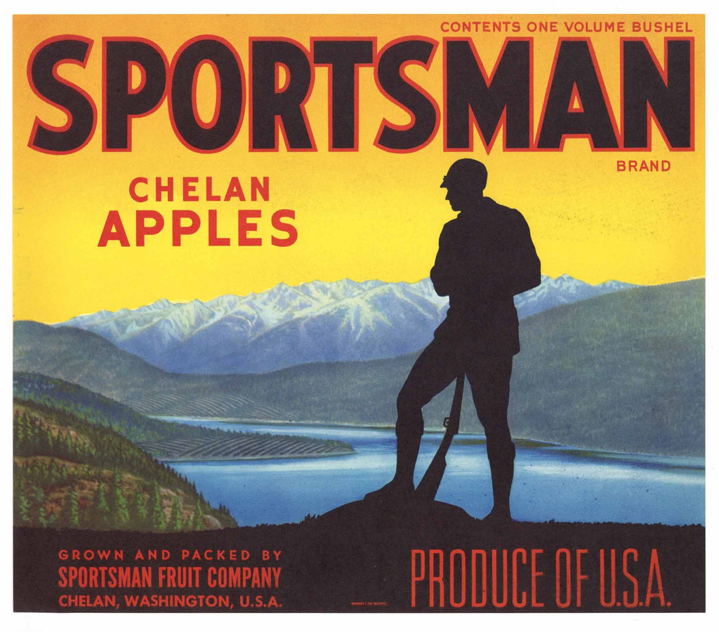 Sportsman Brand Vintage Chelan Washington Apple Crate Label