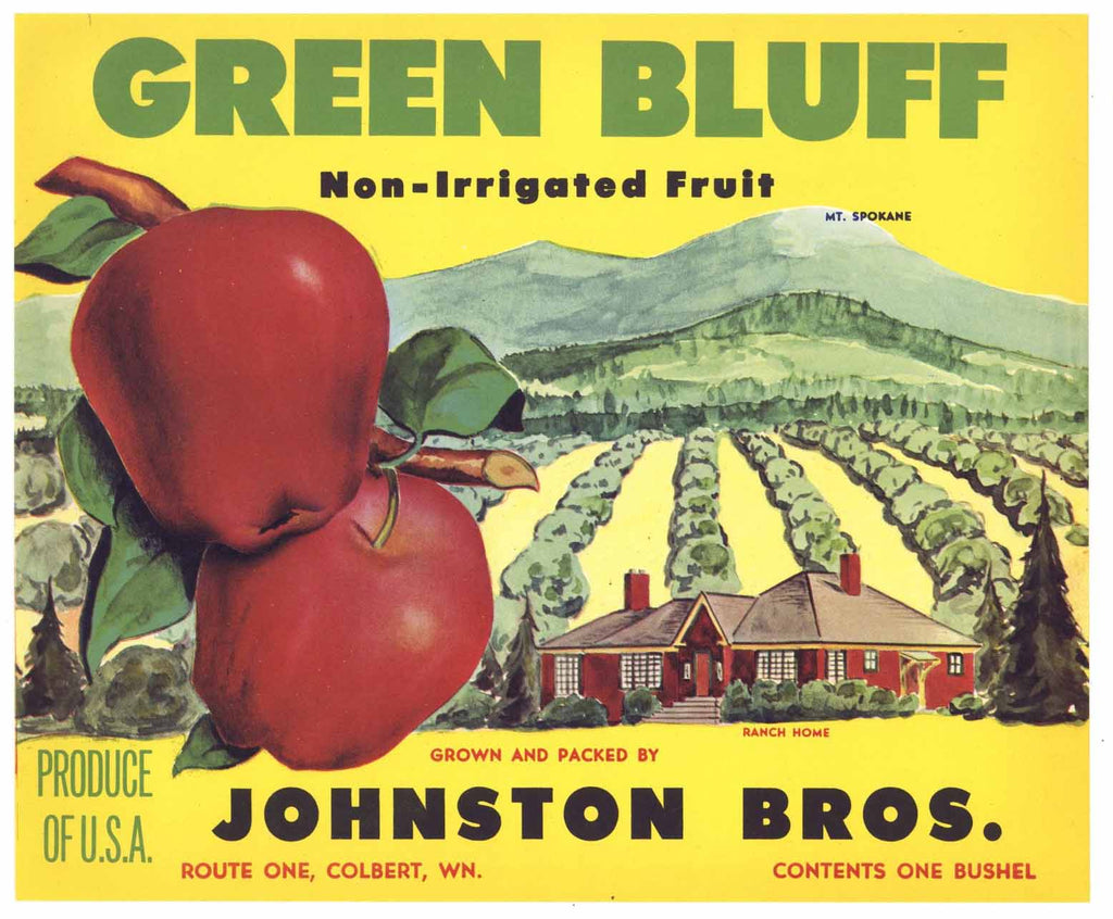 Green Bluff Brand Vintage Colbert Washington Apple Crate Label