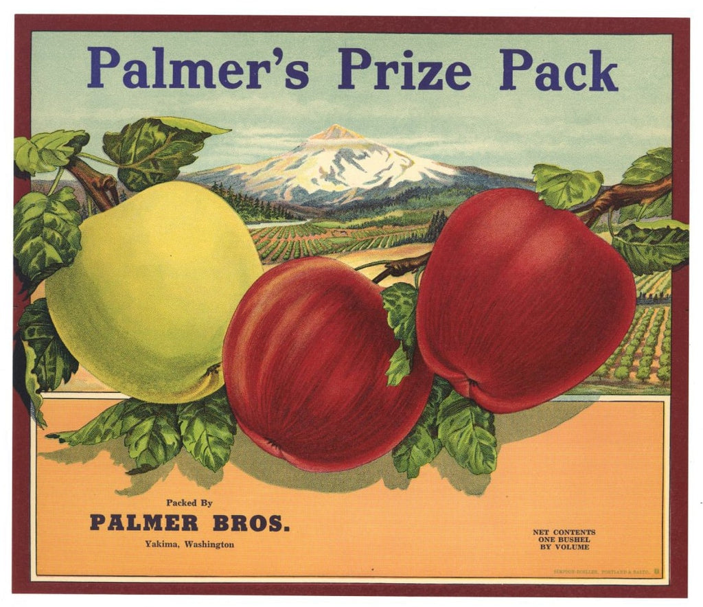 Palmer's Prize Pack Brand Vintage Yakima Apple Crate Label
